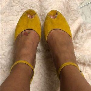 Mustard Yellow Suede Platform Heels